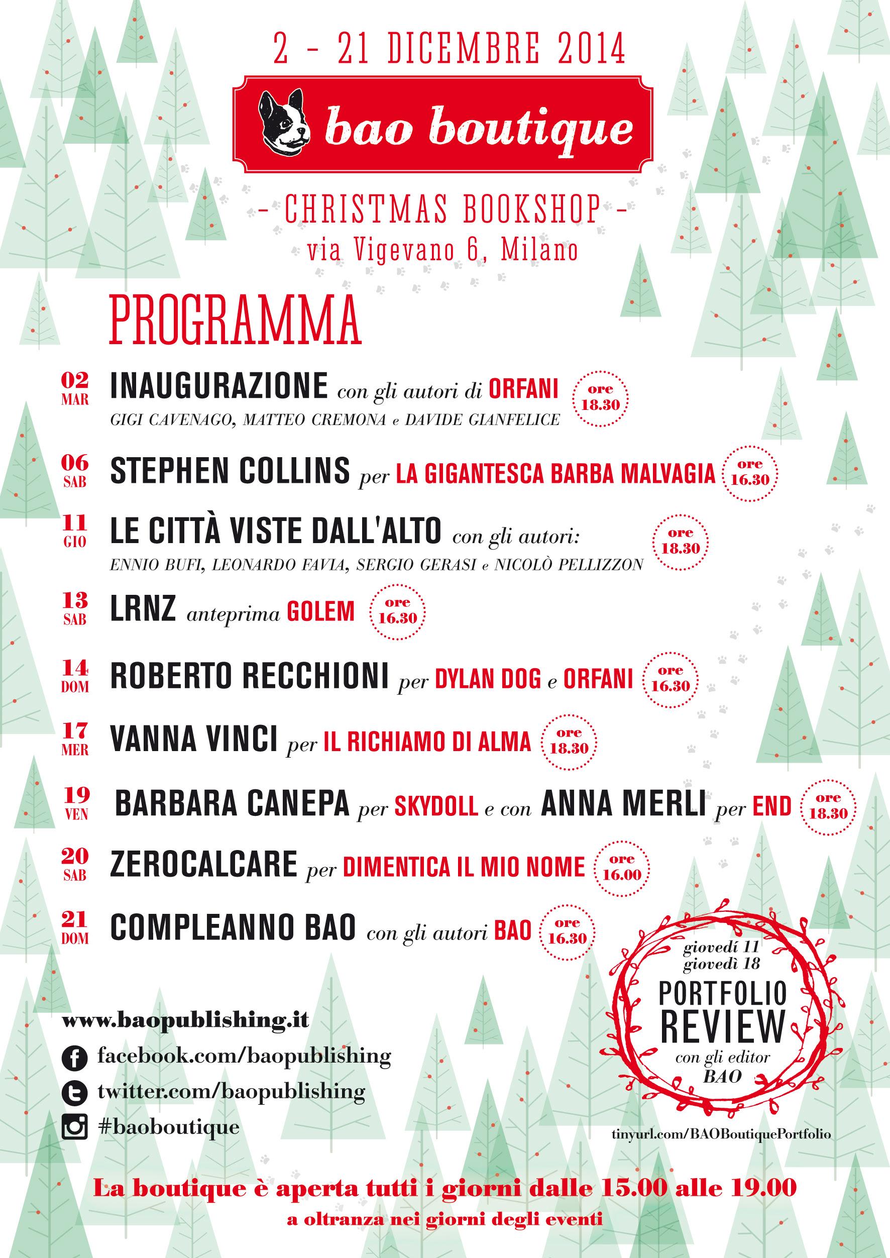 Apre a Milano il Christmas Bookstore di Bao Publishing dal 2 al 21 dicembre 2014