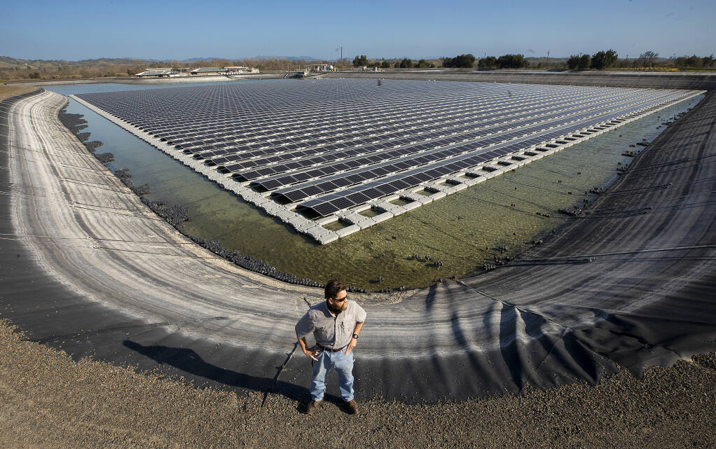 Rob Scates, the city of Healdsburg water/wastewater manager, stands on the edge of a 25 million gallon wastewater tertiary pond with a solar array containing 11,600 panels on Thursday, March 4, 2021. The panels shield the water from the sun, preventing algae buildup in the pond, while producing nearly 5 megawatts of clean power for the city. (John Burgess / The Press Democrat)
