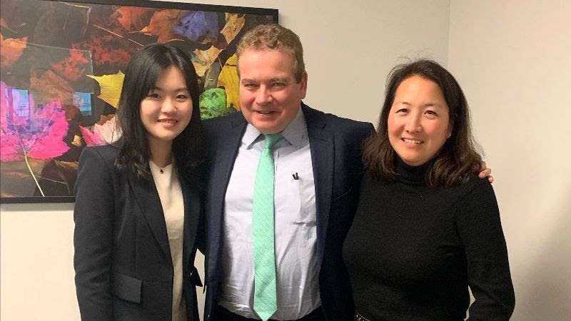 Iris Xu '22 with Kurt Ryden '88 and Julie Min Chayet '91 at her Winter Break Externship at the Bank of America, Private Bank, NY.