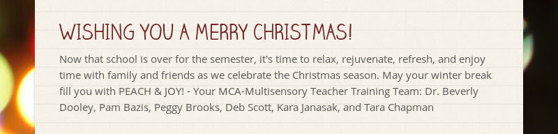 WISHING YOU A MERRY CHRISTMAS!                         Now that school is over for the semester, it's time to relax,...