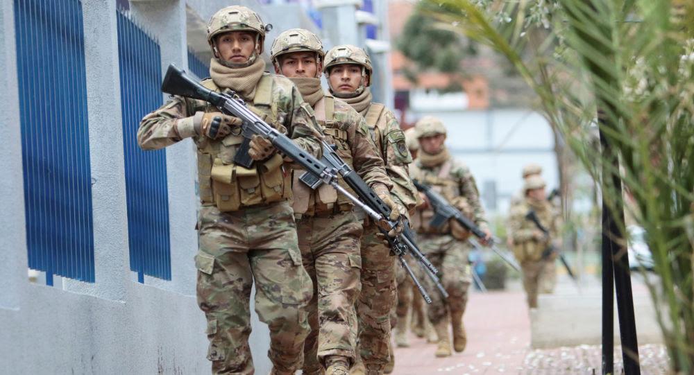 Militares bolivianos en La Paz, Bolivia