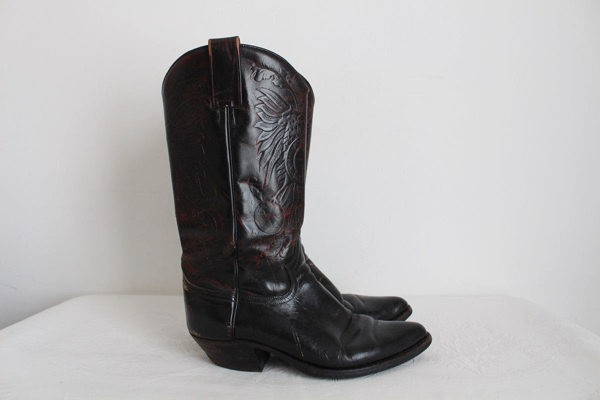 GENUINE LEATHER VINTAGE BLACK COWGIRL BOOTS - SIZE 6