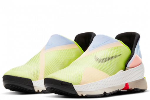 Nike Go Fly accessible trainers in pale green and blue with black souls and inside the shoes
