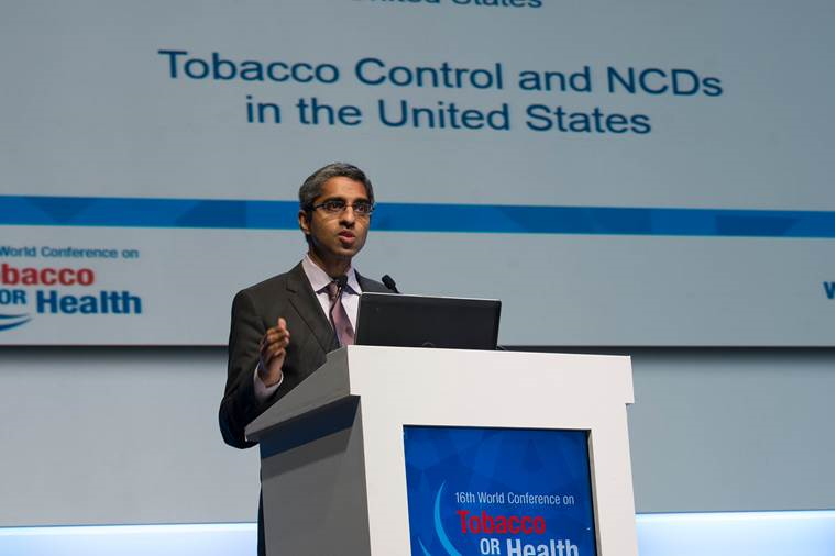 Dr. Vivek H. Murthy, MD, MBA, U.S. Surgeon General, speaks at the High Level Ministerial Plenary of the 16th World Conference on Tobacco or Health.