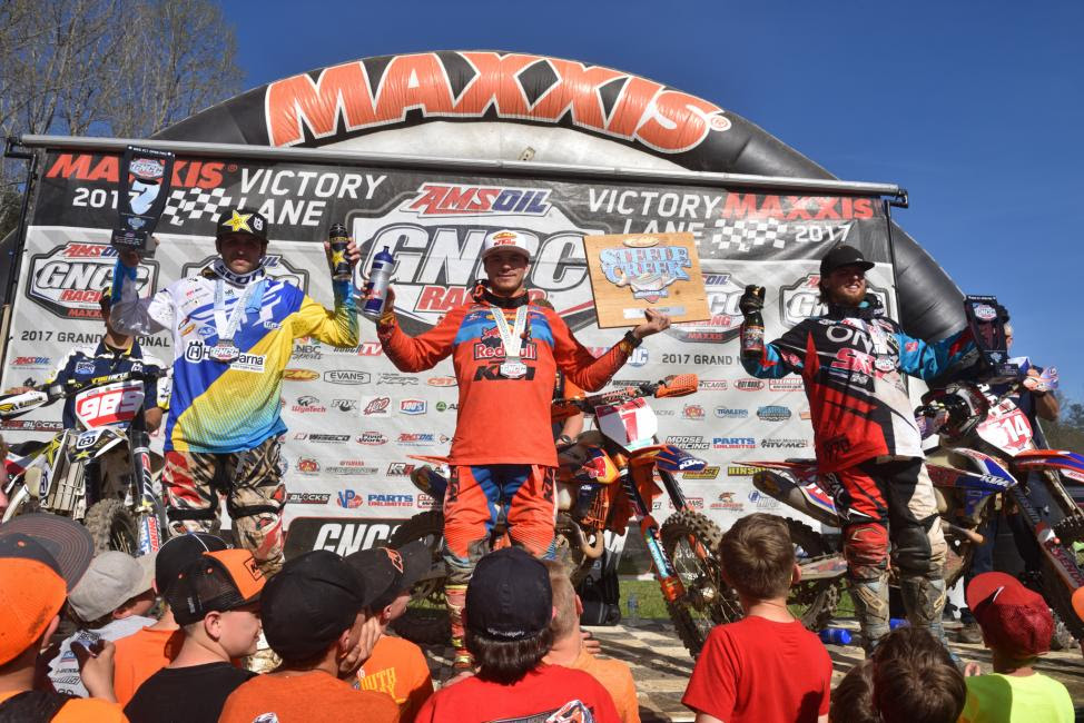Overall Podium: (2) Thad Duvall, (1) Kailub Russell, (3) Steward Baylor.