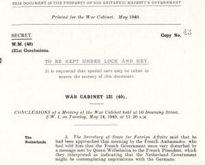 War Cabinet 121 (40), May 14, 1940
