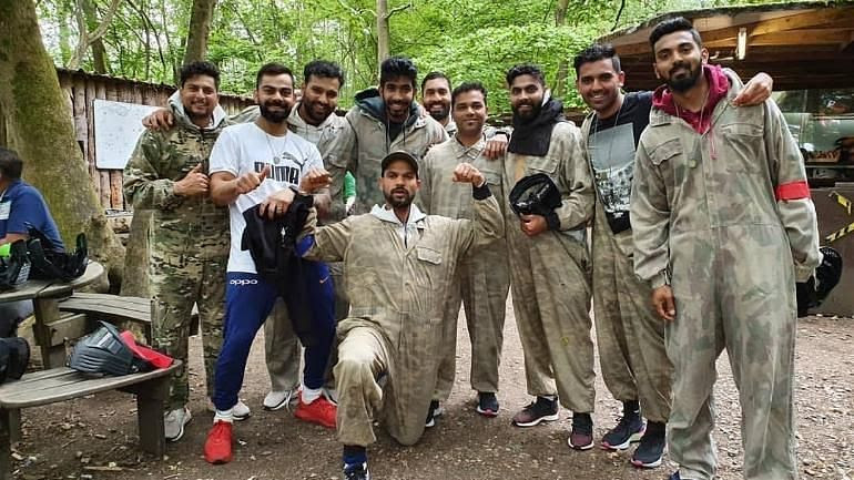 Indian Cricket Team tried their hands on paintball before their inaugural match of CWC 19