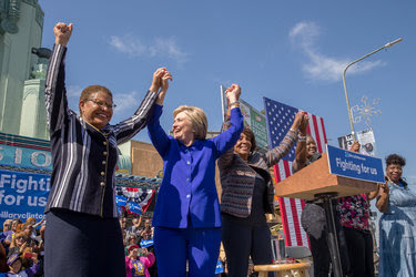 On Monday, Hillary Clinton appeared with two California congresswomen, Karen Bass, left, and Maxine Waters. Both are superdelegates.