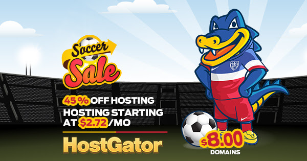 HostGator Soccer Sale - 45% Of...