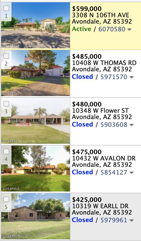 10304 W Catalina Dr Avondale, AZ 85392 comp list