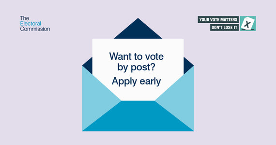 Image of an envelop and the words want to vote by post? apply early