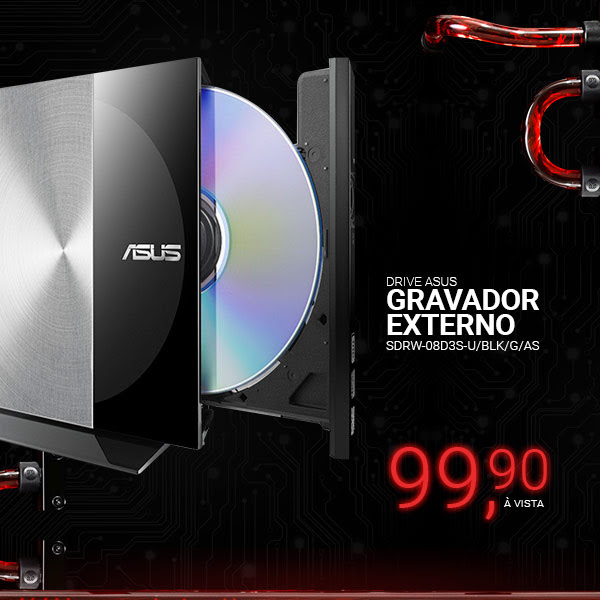 Drive ASUS Gravador Externo SDRW-08D3S-U/BLK/G/AS
