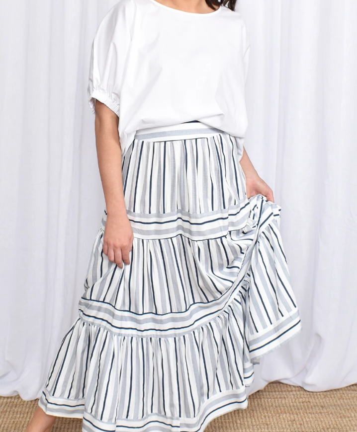 Candy Cane Skirt Blue and White Stripe