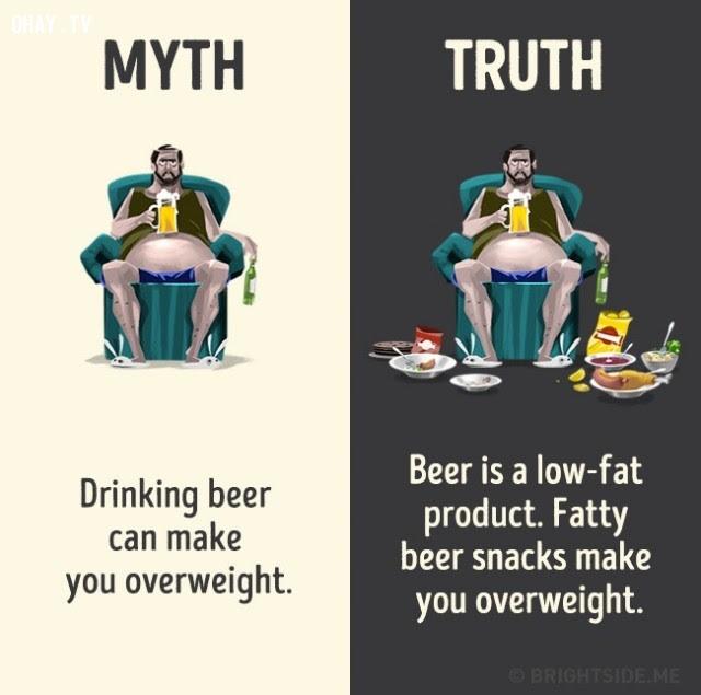 8. Uống bia khiến bạn thừa cân. Sự thật bia là một sản phẩm ít chất béo, chất béo trong mồi nhậu mới khiến bạn thừa cân.,nhận thức sai lầm,các loại thức uống,khám phá,sự thật thú vị,những điều thú vị trong cuộc sống