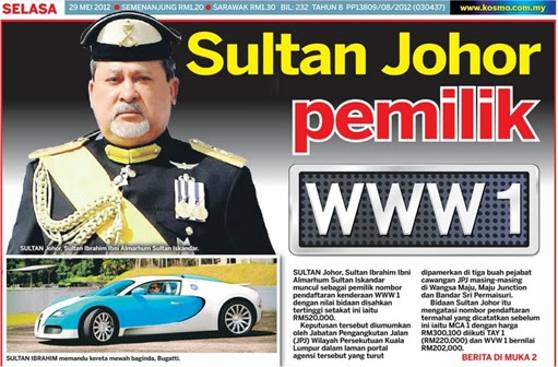 Johor Sultan Ibrahim - WWW1 Plate