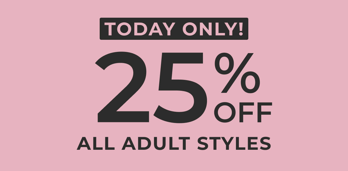 25% off adult shoes banner links to homepage