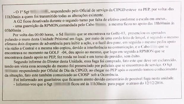 Relatório feito pela guarda da penitenciária  (Foto: Reprodução/G1)