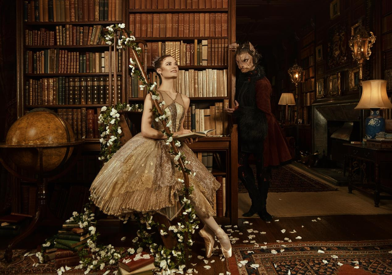 Delia Mathews as Belle and Brandon Lawrence as the Beast; photo Bella Kotak 2