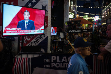 Senator Ted Cruz's speech to the Republican National Convention, as seen in downtown Cleveland on Wednesday.