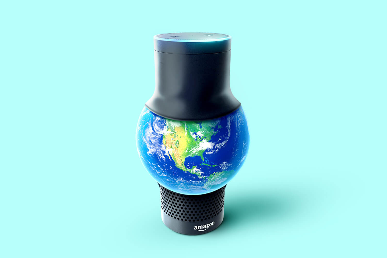 A an Amazon Echo with a globe inside it