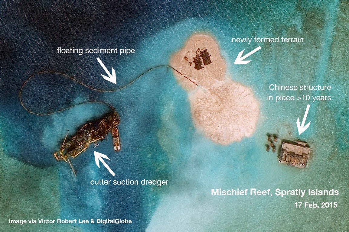 Satellite image analysis South China Sea reclamation in Spratly Islands
