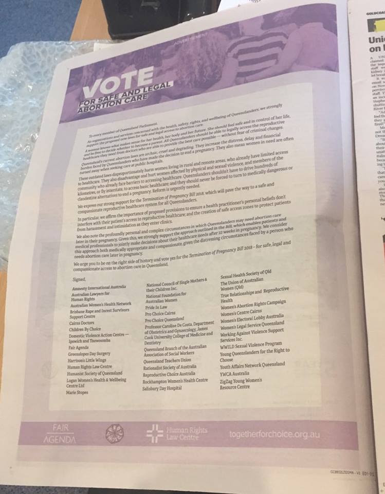 Advert in Gold Coast Bulletin