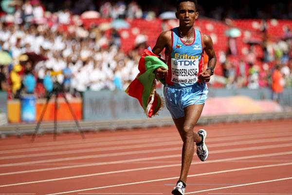 Ghirmay Ghebreslassie wins the marathon at the IAAF World Championships, Beijing 2015 (Getty Images)