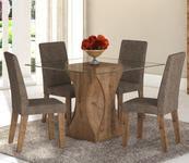 Conjunto De Mesa Para Sala De Jantar Walquiria Vidro Com 4 Cadeiras Ebano/Dakota