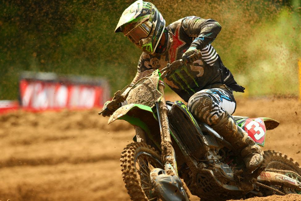 Tomac rebounded from a pair of crashes in Moto 2 to finish third.