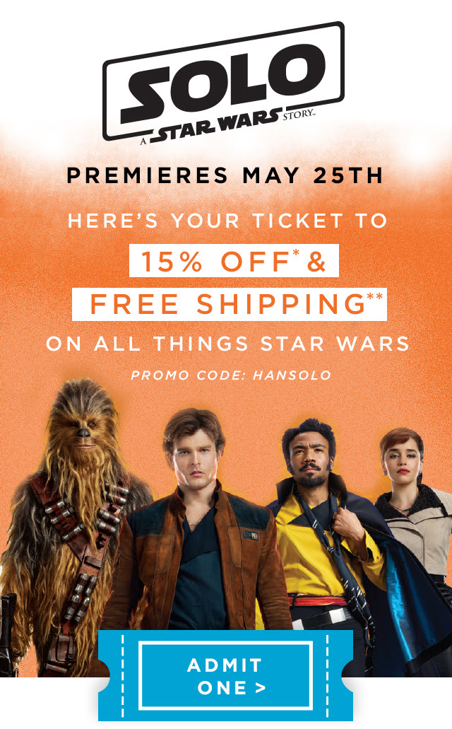 Enjoy 15% off + free shipping on all things Star Wars with promo code HANSOLO | Offer valid through 5/27