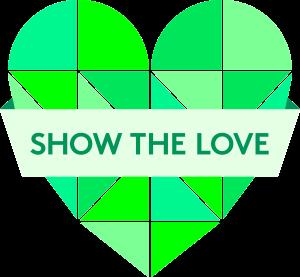Show the love green heart