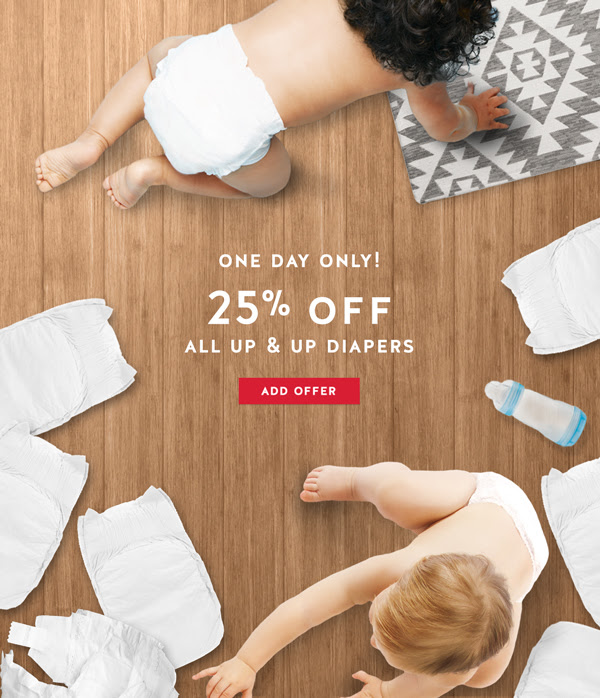 One Day Only! 25% off Up & Up Diapers