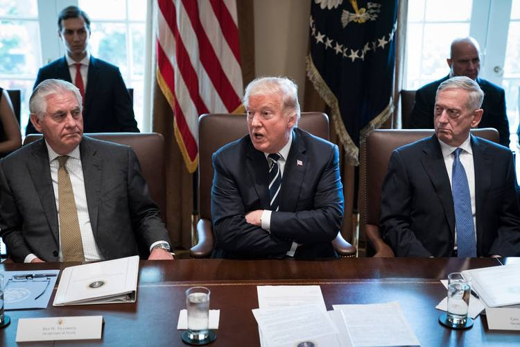 President Trump, flanked by Secretary of State Rex Tillerson and Defense Secretary Jim Mattis. (Jabin Botsford/The Washington Post)