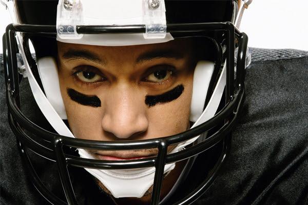 A closeup of a football player.