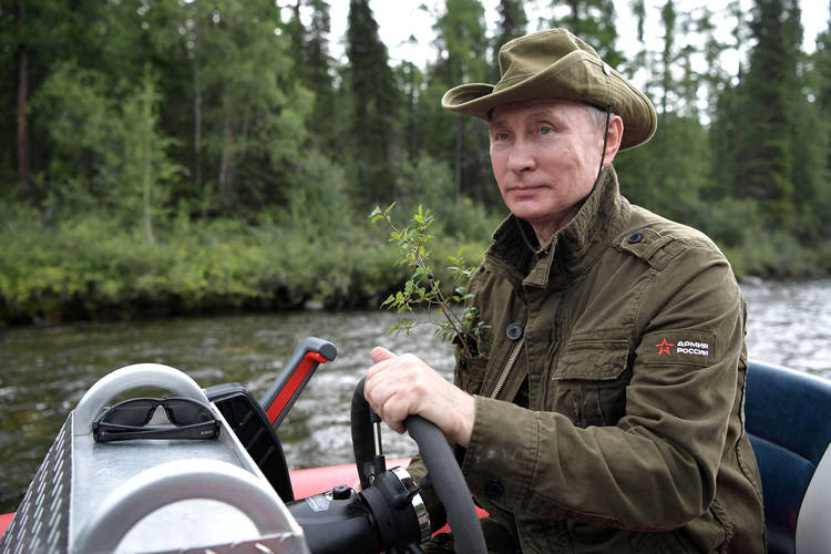 Putin on a hunting and fishing trip in southern Siberia. (Alexei Nikolsky/Kremlin via Reuters)