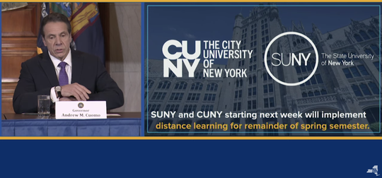 Gov. Andrew Cuomo announced Wednesday, March 11, 2020, that SUNY and CUNY would close all its campuses for most classes in favor of online classes due the coronavirus.