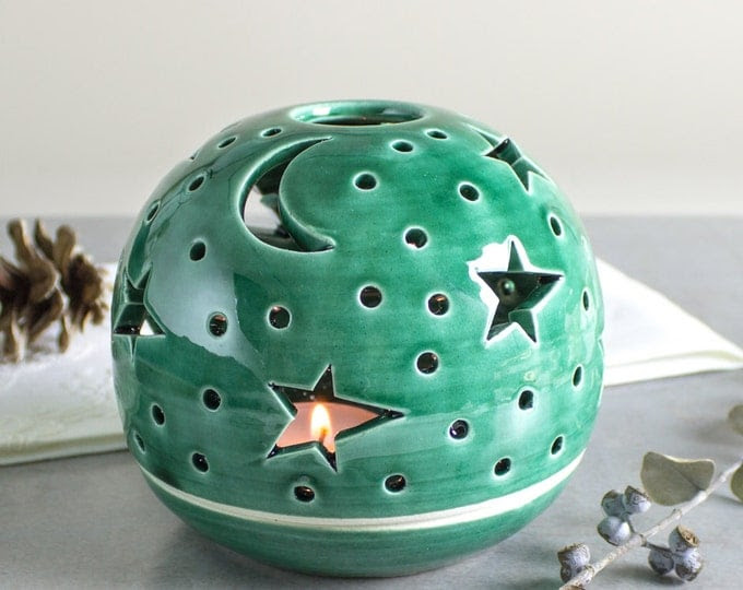 Candle Holder Modern Emerald green House Decor Handmade Ceramic wedding lantern centerpiece Tea Light holder luminary Star Moon
