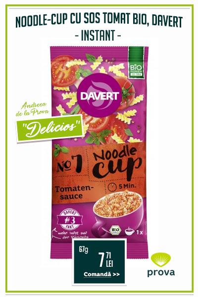 Noodle-Cup taitei instant cu broccoli si sos de branza, BIO, 64g - Davert