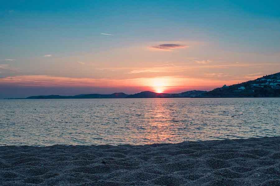 sunset ocean view in Mykonos