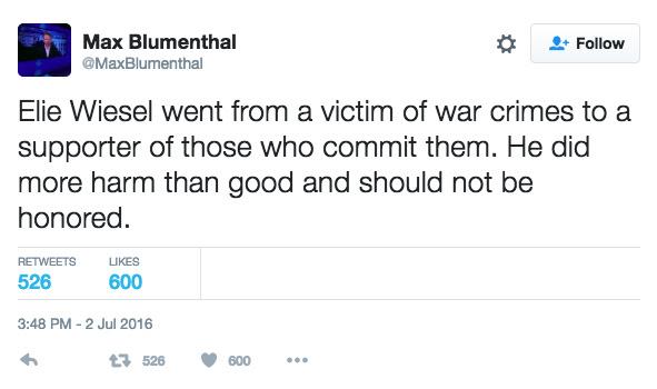 Max Blumenthal on Elie Wiesel