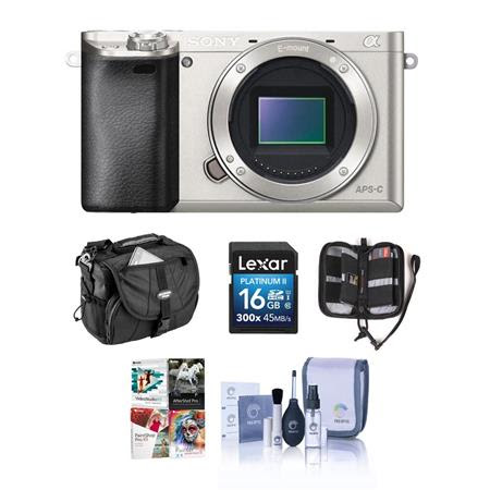 Alpha A6000 Mirrorless Digital Camera Body, Silver - BUNDLE - with Camera Bag, 16GB Class
