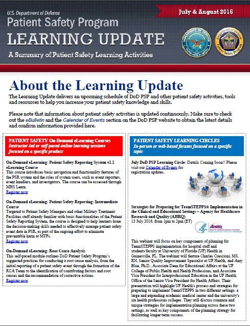 DoD PSP Learning Update August 2016 Edition Screenshot