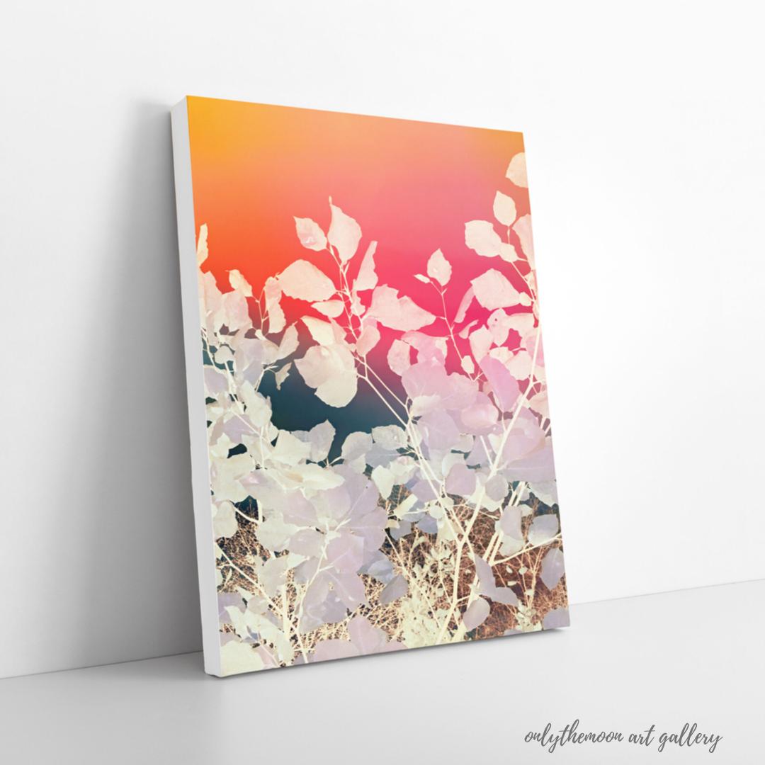 Rainbow sky leafy abstract canvas print By onlythemoon