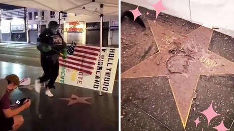 Un 'Hulk' destruye la estrella de Trump en el Paseo de la Fama de Hollywood (VIDEO)