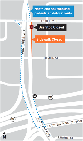 Montlake Boulevard map. The part between East Shelby and Hamlin Streets is labeled sidewalk closed. There's a detour route to the left of the road