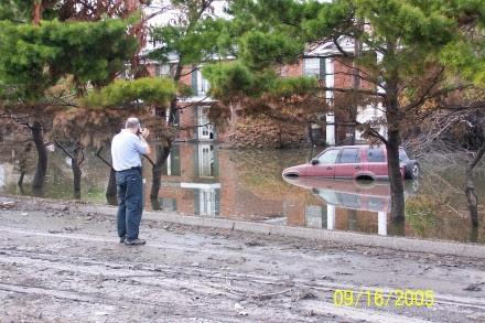 The author documenting Katrina damage.
