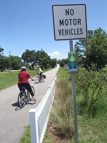 East Coast Greenway riders crossing the Garden Street Bridge in Titusville by