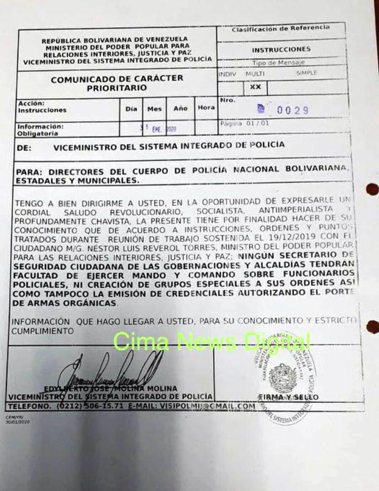Ministerio de Interiores manejará policías - noticiasACN