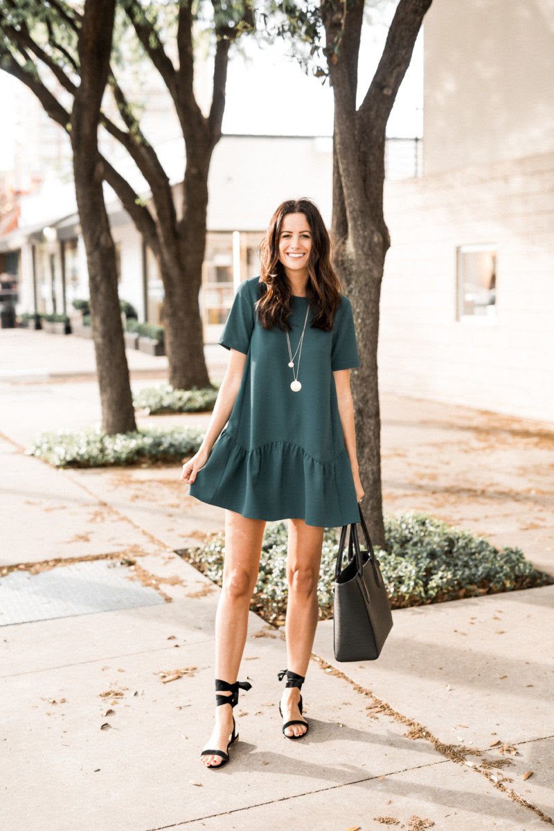 the miller affect wearing a LOFT Flippy Swing Dress