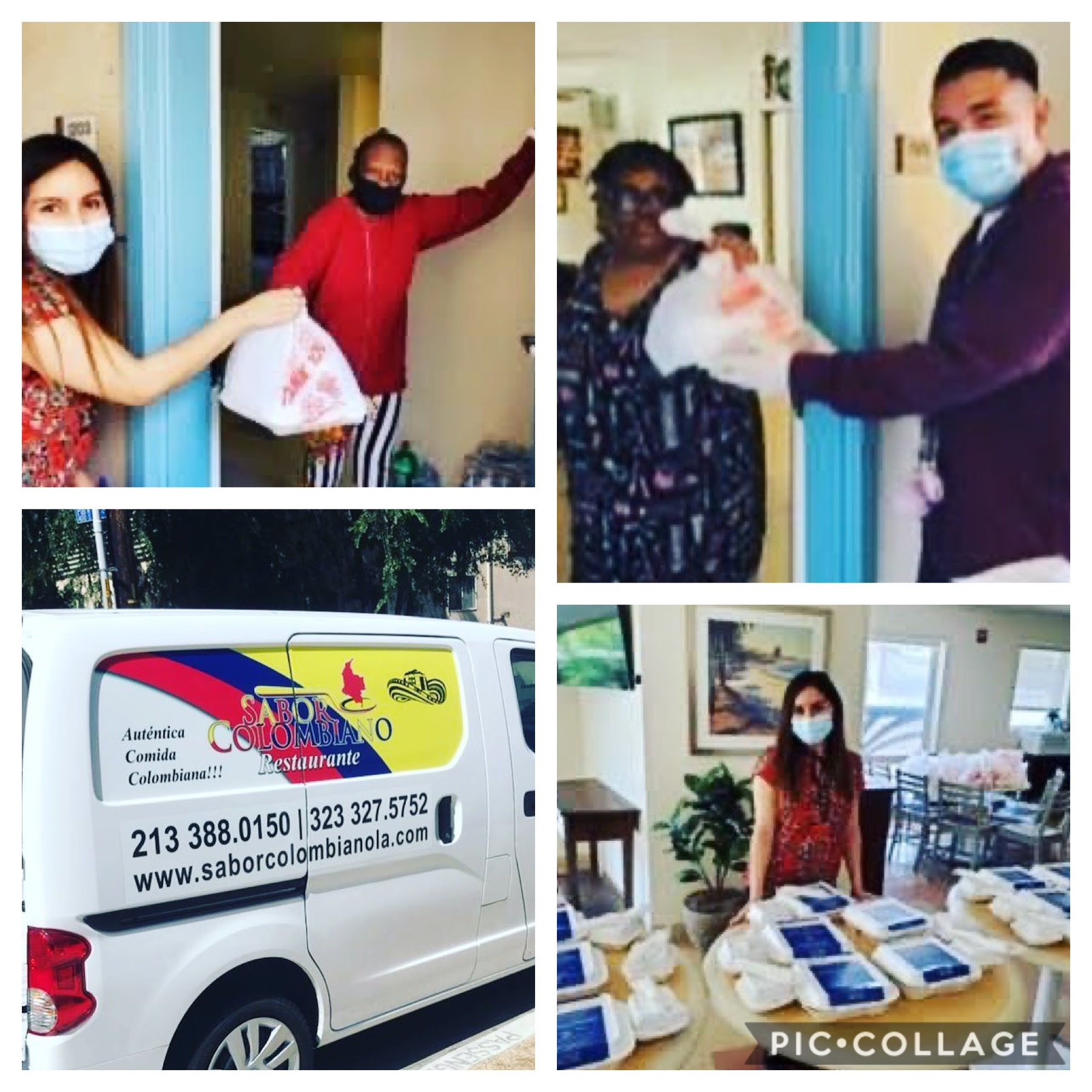 CCNP and Sabor Colmbiano Restaurant, distributed hot meals to seniors at Knob Hill Apartments in Westlake 5-22-2020 COLLAGE